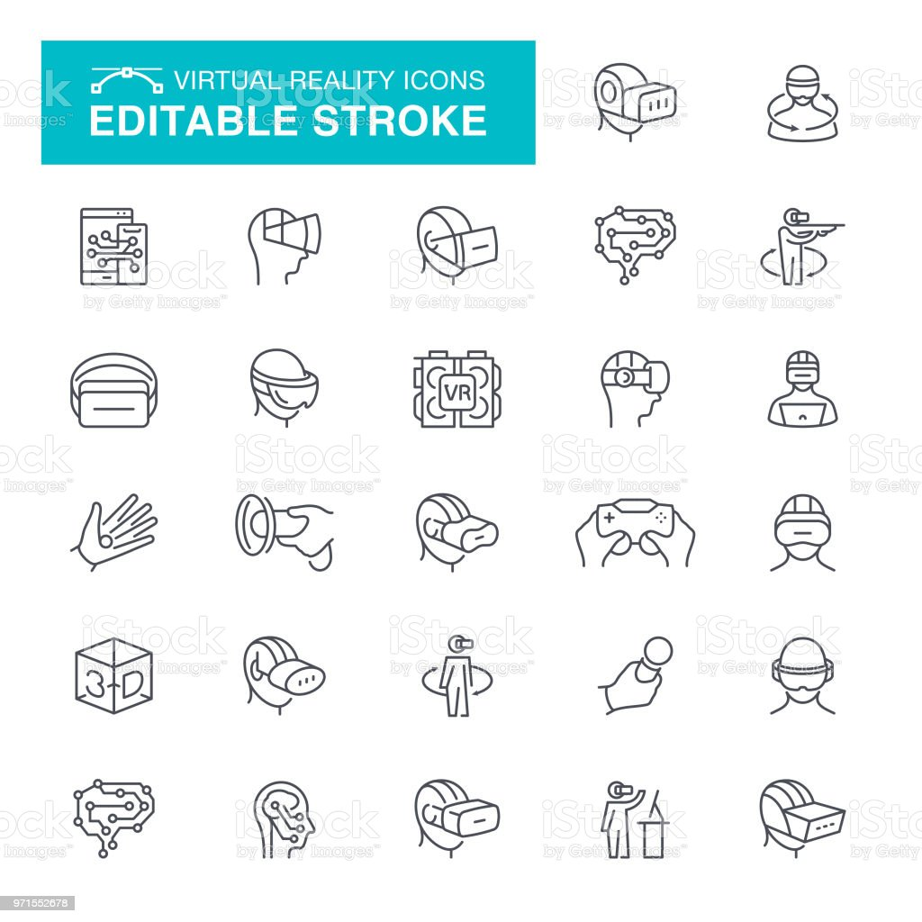Virtual Reality Set Editable Stroke Icons vector art illustration