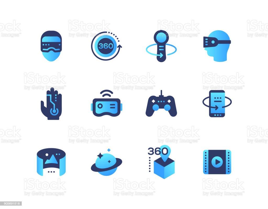 Virtual-Reality - set mit flachen Design-Stil-Ikonen – Vektorgrafik
