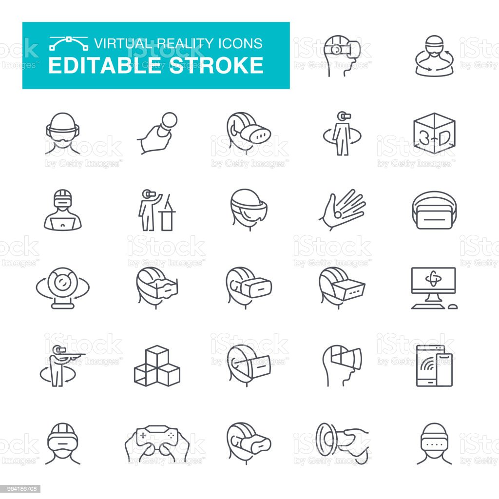 Virtual Reality Stroke Icons vector art illustration