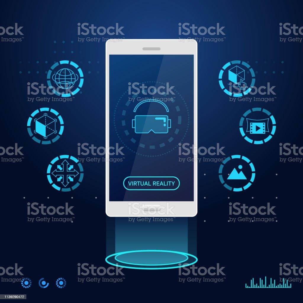 Virtual Reality Technology App Mobile Phone Stock Vector Art