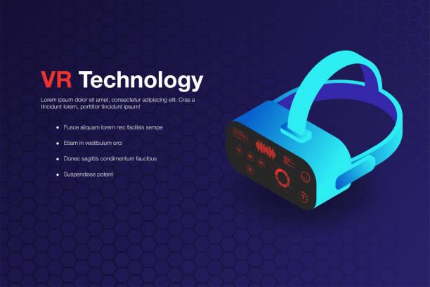 virtual-reality-technologie hintergrund. isometrische virtual-reality-brille mit hud anzeigen nachahmung - markenbrillen stock-grafiken, -clipart, -cartoons und -symbole