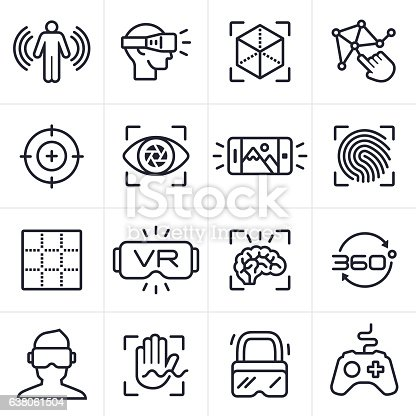 Virtual reality technology and gaming icons and symbols collection.