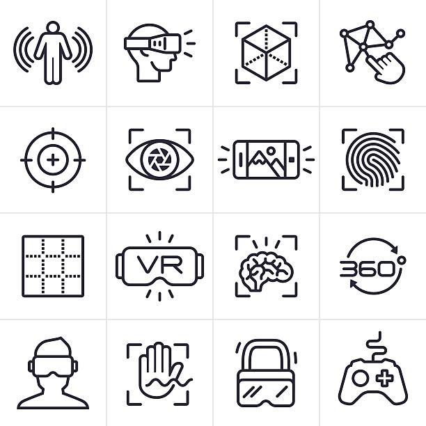 ilustraciones, imágenes clip art, dibujos animados e iconos de stock de iconos y símbolos de la tecnología de realidad virtual - 360