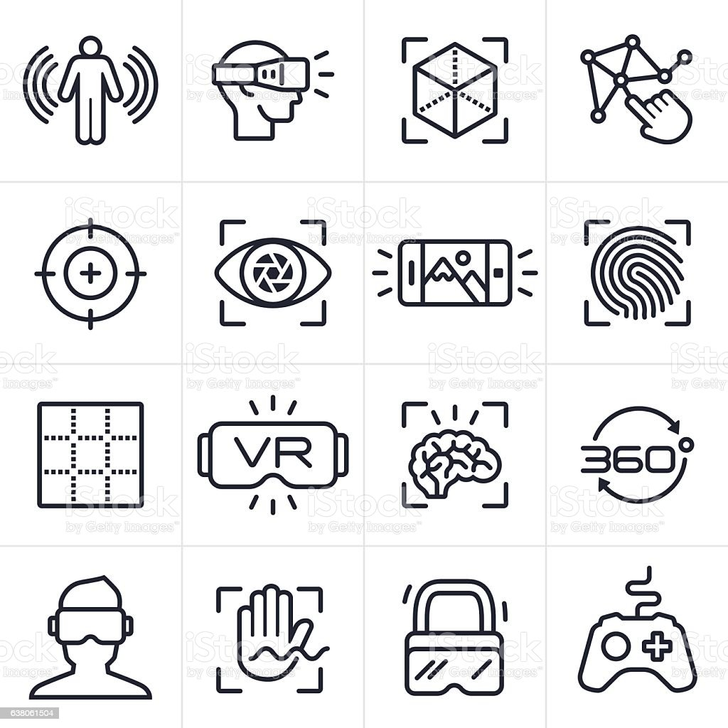 Virtual Reality Technology Icons and Symbols vector art illustration