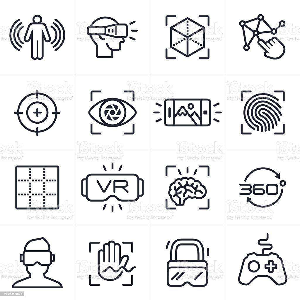 Virtual Reality Technology Icons and Symbols - ilustración de arte vectorial