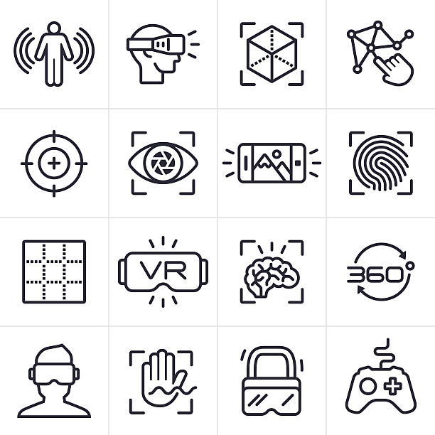 ilustraciones, imágenes clip art, dibujos animados e iconos de stock de virtual reality technology icons and symbols - vr