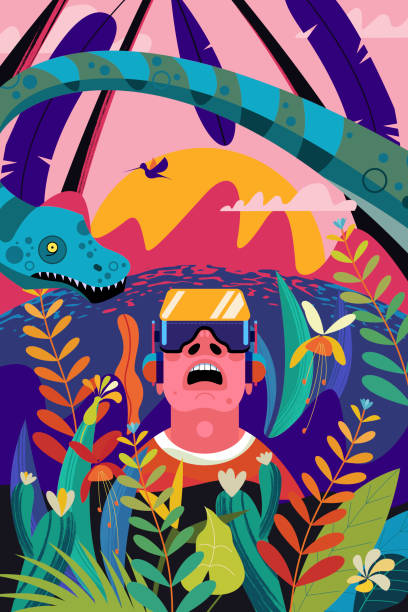 virtual reality. the man with the glasses of virtual reality in the jungle of the mesozoic period among the dinosaurs and tropical plants. - jungle stock illustrations