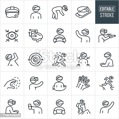 A set of virtual reality icons that include editable strokes or outlines using the EPS vector file. The icons include a virtual reality headset, person wearing a virtual reality headset, VR, virtual reality, virtual reality on mobile phone, eye, brain, driving simulator, gun, person playing games, camera lens, gaming, controller, simulation, augmented reality, entertainment, technology, simulated reality, VR headset and other related icons.