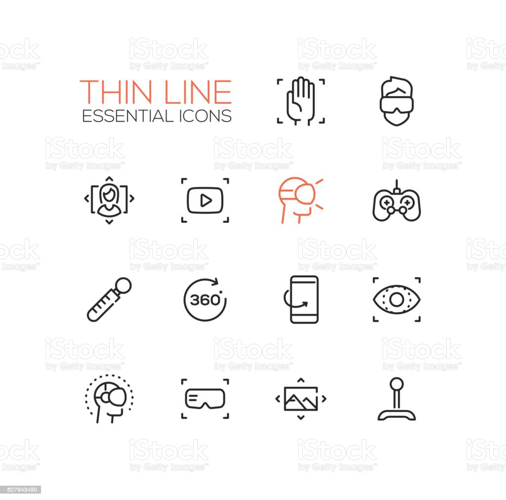 Virtual Reality - Thin Single Line Icons Set vector art illustration