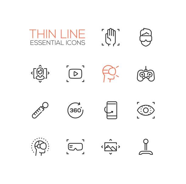 Virtual Reality - Thin Single Line Icons Set – Vektorgrafik