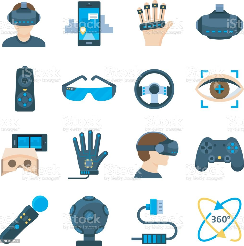 Virtual reality vector icon set in flat style vector art illustration