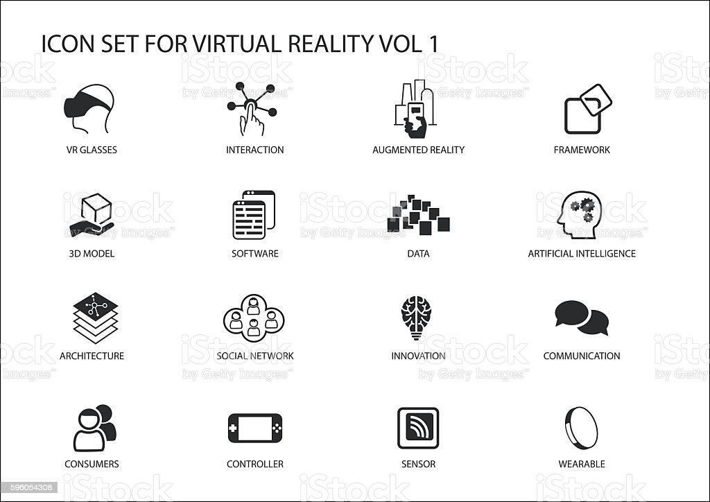 Virtual Reality (VR) vector icon set. Multiple symbols vector art illustration