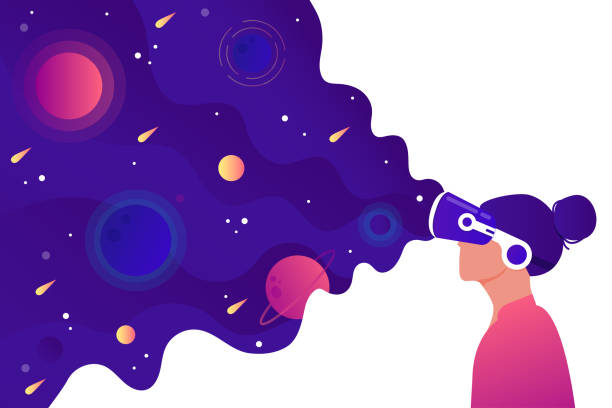 Virtual reality A girl with a VR headset sees space. The concept of virtual reality. Flat vector illustration. vr stock illustrations