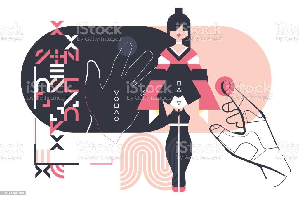 realidade virtual, sexo virtual, garota digital - ilustração de arte em vetor