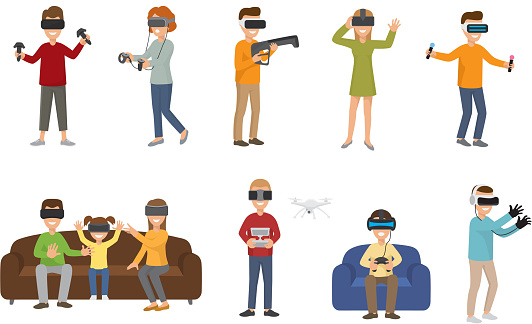 Virtual reality VR glass headset people playing enjoy 3d goggles device characters simulation futuristic video game vector illustration