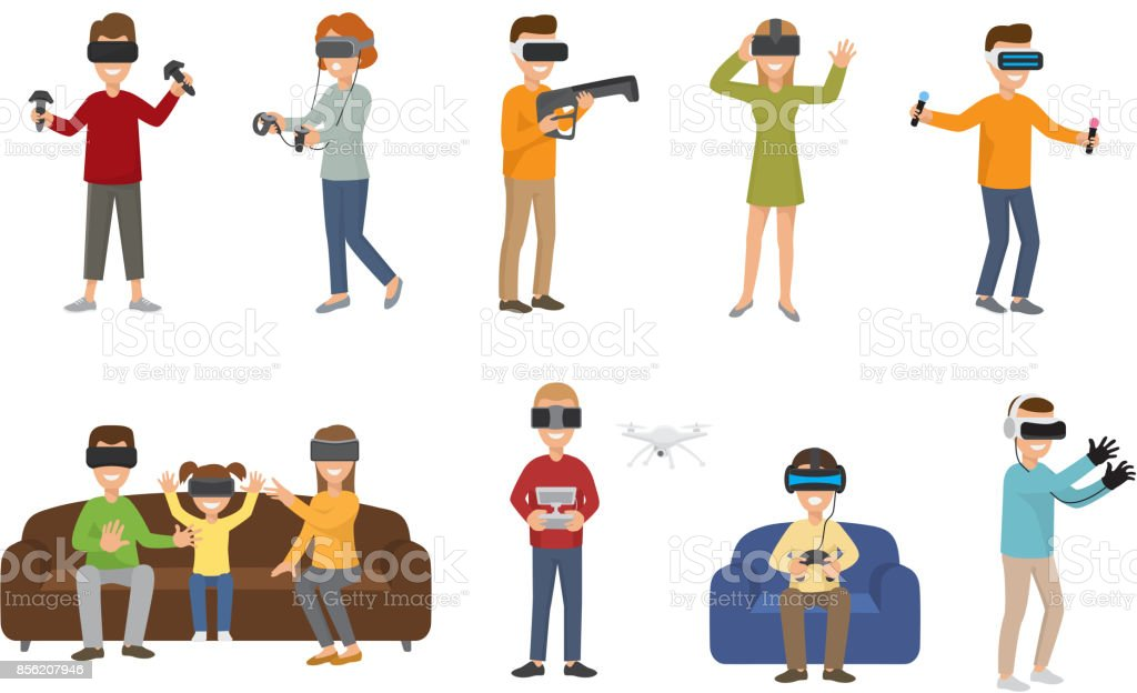 Virtual reality VR glass headset people playing enjoy 3d goggles device characters simulation futuristic video game vector illustration vector art illustration