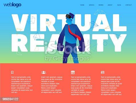 istock Virtual reality website template 986594122