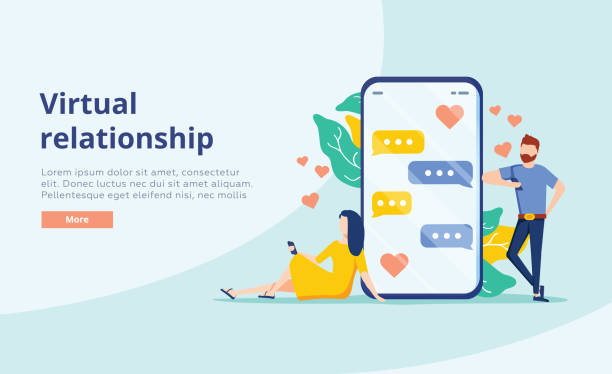 Virtual relationship vector concept. People young couple chatting in the smartphone screen. Virtual dating. Virtual relationship vector concept. People young couple chatting in the smartphone screen. Virtual dating. Flat vector design. Business chat, dating app for partner search website concept. Background online dating stock illustrations