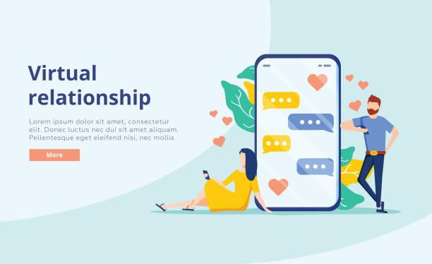 stockillustraties, clipart, cartoons en iconen met virtuele relatie vector concept. mensen jonge paar chatten in het smartphone scherm. virtuele dating. - daten