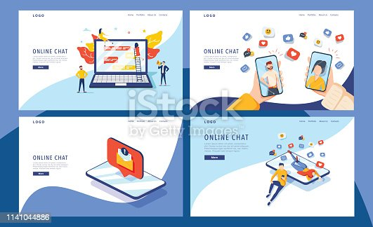 virtual relationship vector illustration concept,group of people chat on social media , people typing on smartphone can use for, landing page, template, ui, web, mobile app, poster, banner, flyer
