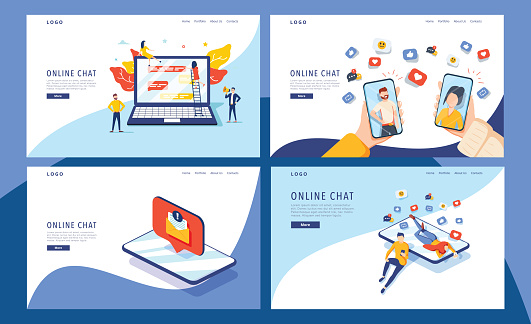 virtual relationship vector illustration concept,group of people chat on social media , people typing on smartphone