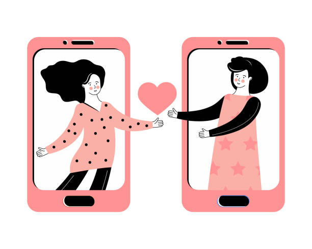 Virtual relationships, online dating and social networking. LGBT concept. Romantic relationship between a two women. Сhatting on the Internet. Love message through the mobile app. Lesbian couple. Virtual relationships, online dating and social networking. LGBT concept. Romantic relationship between a two women. Сhatting on the Internet. Love message through the mobile app. Lesbian couple. girlfriend stock illustrations