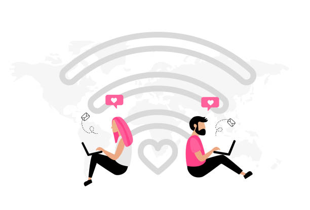 Virtual relationships Online dating. Virtual relationships. Dating applications concept. Flat vector illustration with male and female chatting. Find love. online dating stock illustrations