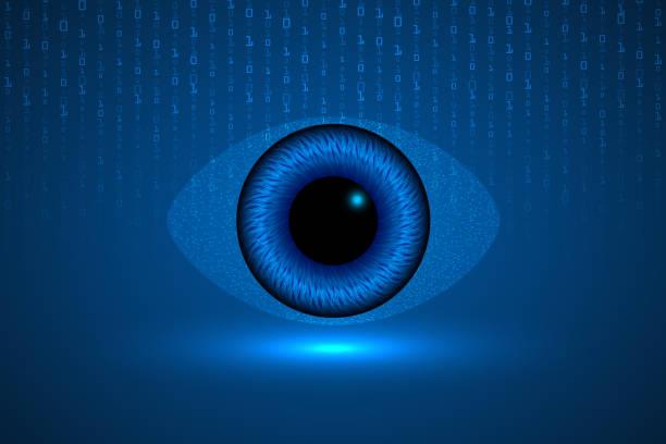 ilustraciones, imágenes clip art, dibujos animados e iconos de stock de resumen infográfico de tecnología científica virtual. - ojos azules