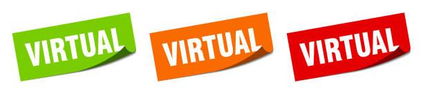 virtual sticker. virtual square isolated sign. virtual label vector art illustration