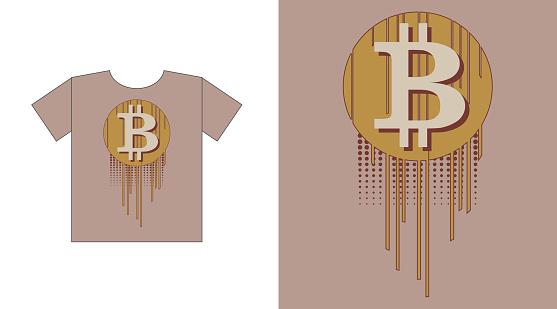 Virtual symbol of the coin bitcoin, futuristic digital money. graphics for t-shirt print design