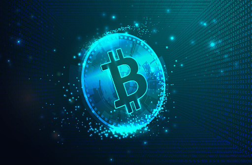 Virtual Symbols of the Bitcoin with Binary Code Digital Background