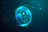 istock Virtual Symbols of the Bitcoin with Binary Code Digital Background 1268471234