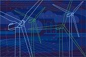 Dark blue wind farm in virtual reality style. With XXXL jpg.