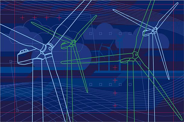 Virtuelle wind farm – Vektorgrafik