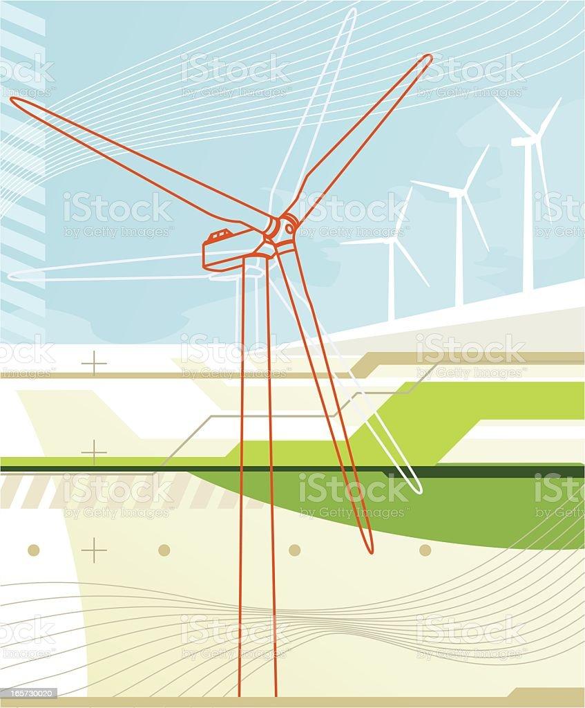 Virtual wind turbine royalty-free stock vector art