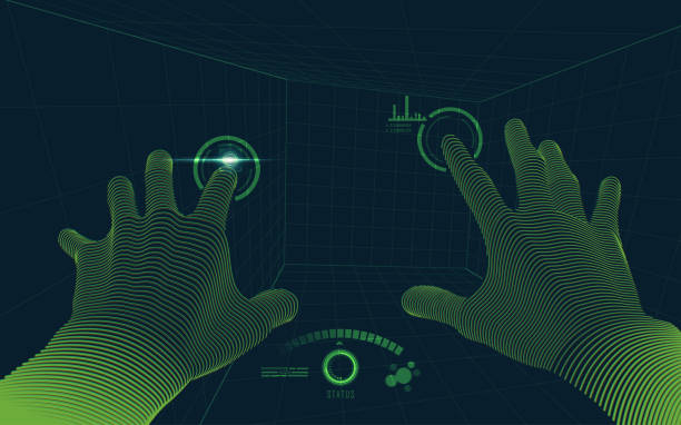 virtualHands2 concept of virtual reality technology, point of view from vr glasses vr stock illustrations