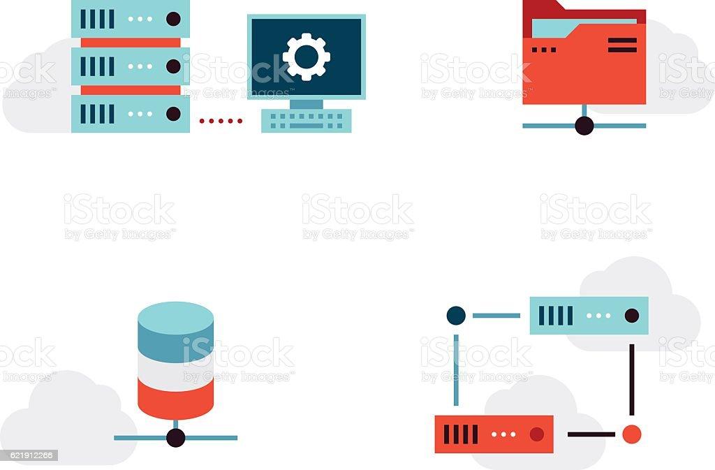 Virtualization Vector Icons Set vector art illustration