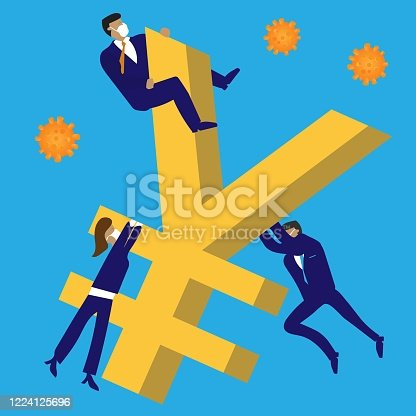 Business people wearing protective masks try to push falling currency up, while virus lurks.