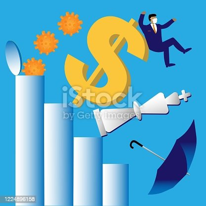 Hidden virus pops out of finance bar graph. Dollar symbol, investor wearing protective mask, chess piece, and umbrella tumble.