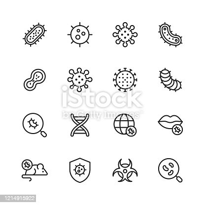 16 Virus and Bacteria Outline Icons.