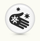 Virus and Bacteria on Hand Icon. This 100% royalty free vector illustration is featuring a round button with a drop shadow and the main icon is depicted in black. The button had a slight bevel 3D effect.