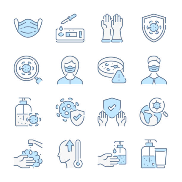 virus and coronavirus and covid test related blue line colored icons. covid-19 prevention and medical mask icon set. - covid testing stock illustrations