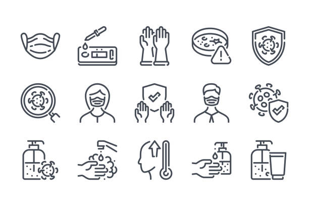 virus and coronavirus related line icon set. covid-19 prevention linear icons. medical mask and covid test outline vector signs and symbols collection. - covid testing stock illustrations
