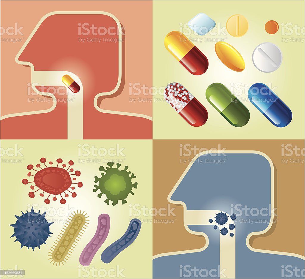 Virus and Cure royalty-free stock vector art