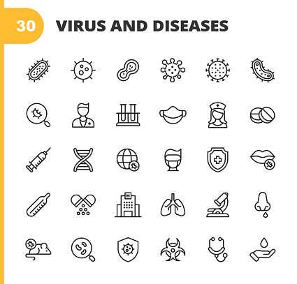 Virus and Disease Line Icons. Editable Stroke. Pixel Perfect. For Mobile and Web. Contains such icons as Bacterium, Infection, Disease, Virus, Cell, Flu, Research, Pandemia, Mouth, Coronavirus, Quarantine, Hospital, Face Mask, Lung.