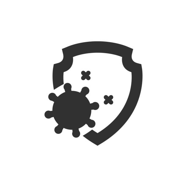 illustrazioni stock, clip art, cartoni animati e icone di tendenza di virus and shield. - virus protection
