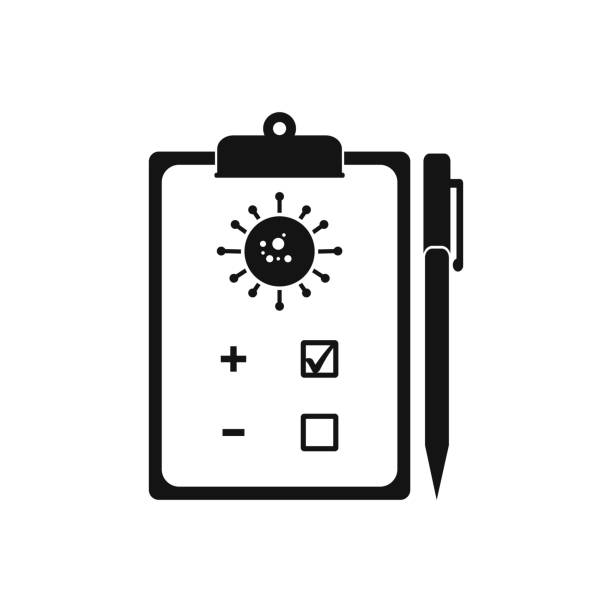virus, bacterium test icon. editable vector symbol illustration. - covid testing stock illustrations