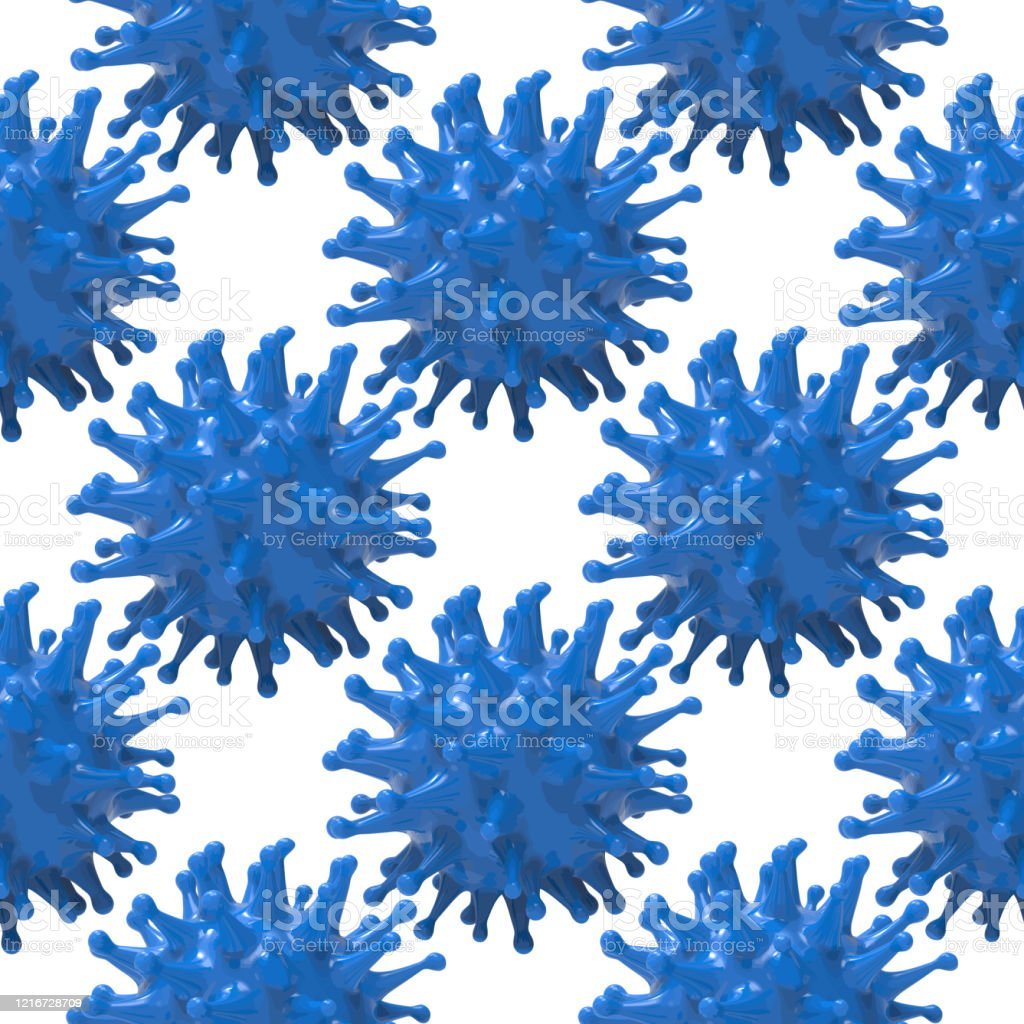 Virus Blue Bacteria Cells Seamless Border Pattern Background Image Flu Influenza Coronavirus Model Wallpaper Covid19 Texture Tile Banner Stock Illustration Download Image Now Istock