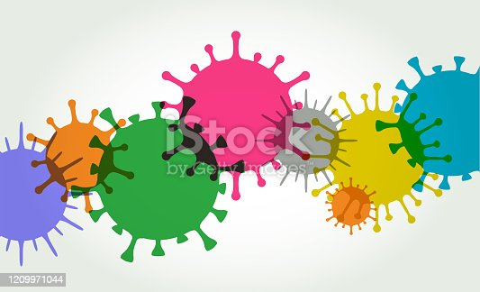 Colourful silhouettes of Virus Cells