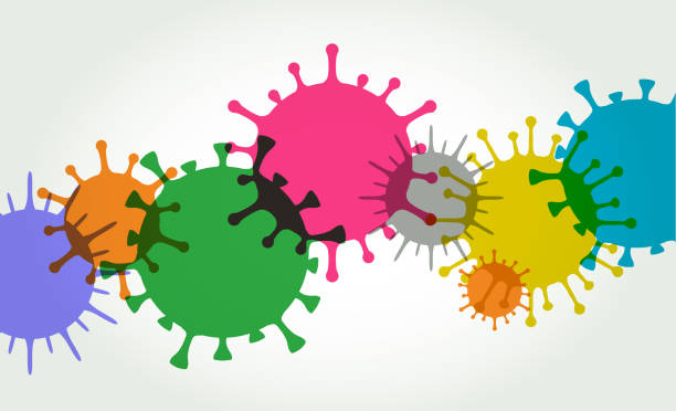 Virus Cell Background Colourful silhouettes of Virus Cells unhygienic stock illustrations